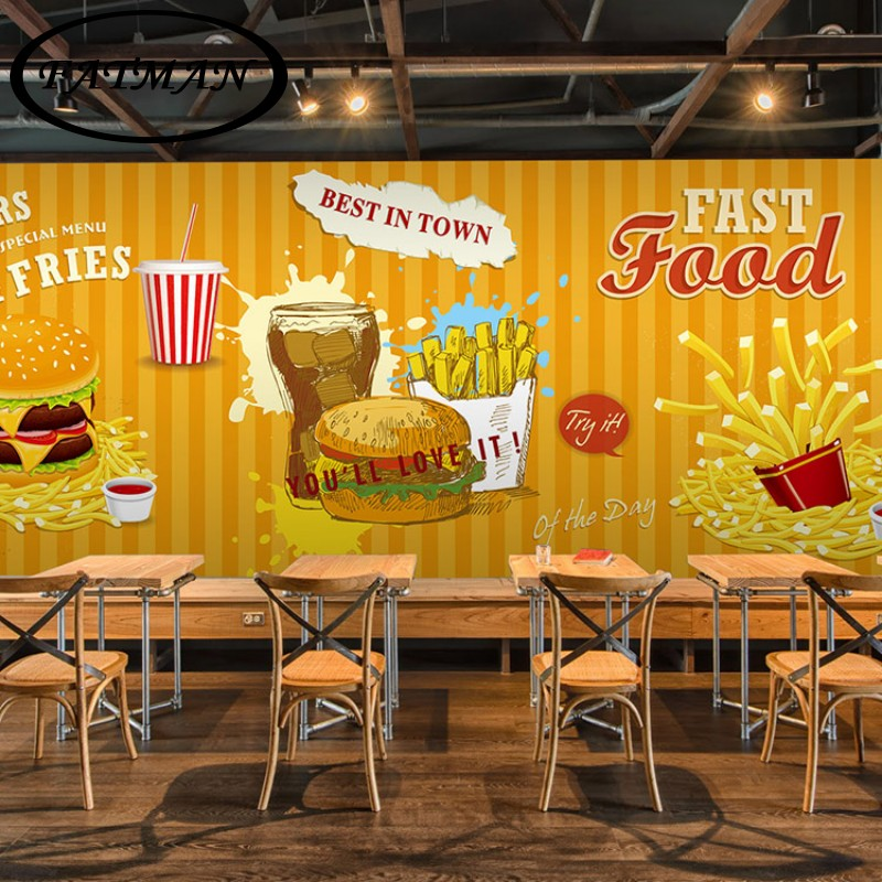 Custom 3D photo wallpaper 3D Hamburg theme wallpaper fast food restaurant coffee house bar snack shop wellpaper mural 3 head 304 stainless steel french fry holder creative restaurant and bar snack snack ktv for food display stand