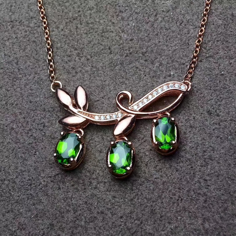 Natural green diopside Necklace Natural Gemstone Pendant Necklace 925 sliver women trendy Leaf Branches women party fine JewelryNatural green diopside Necklace Natural Gemstone Pendant Necklace 925 sliver women trendy Leaf Branches women party fine Jewelry