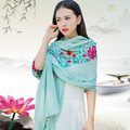 Cotton and linen scarf women's long paragraph autumn and winterlarge shawl flowers embroidery scarf