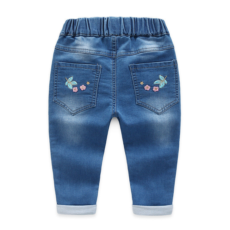 Jiuhehall Spring Children Jeans For Baby Girl Flowers Embroidered Kids Cowboy Pants Children\'s Elastic Waist Trousers CMB970 (2)