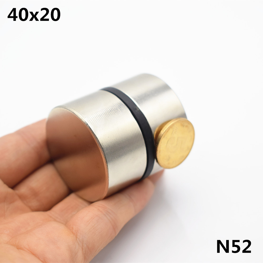Image 2 - 2pcs Neodymium Magnet N52 40x20 mm Super Strong Round Rare earth Powerful NdFeB Gallium metal magnetic speaker N35 40*20 Disc-in Magnetic Materials from Home Improvement