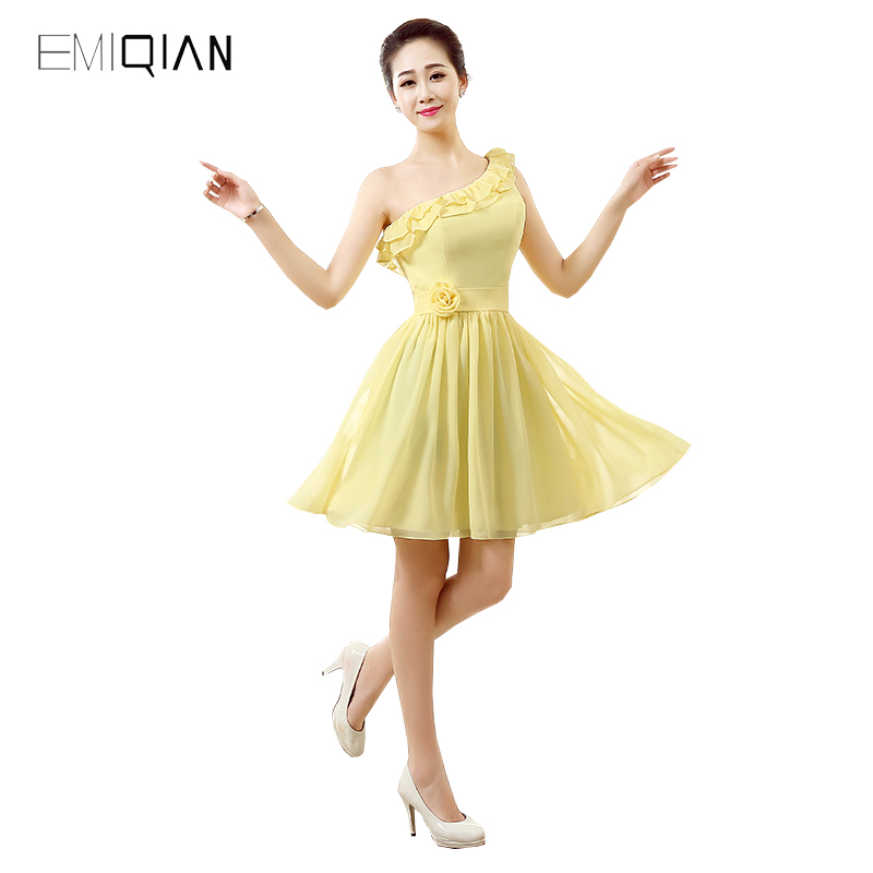 Original Design A Line One Shoulder Yellow Chiffon Cocktail Dresses Lace-up