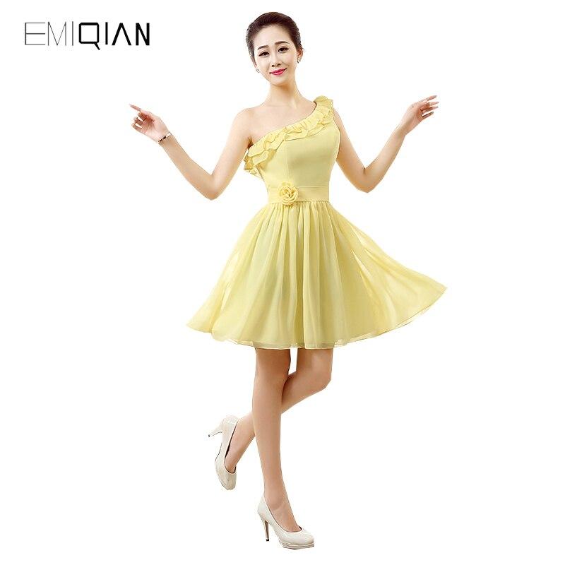 Original Design A Line One Shoulder Yellow Chiffon   Cocktail     Dresses   Lace-up