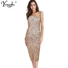 2019 New Listing Summer Vintage Gold Sequin Dress Women Sexy Sleeveless Strapless Sundress Slim Evening Party Dress Vestidos цена