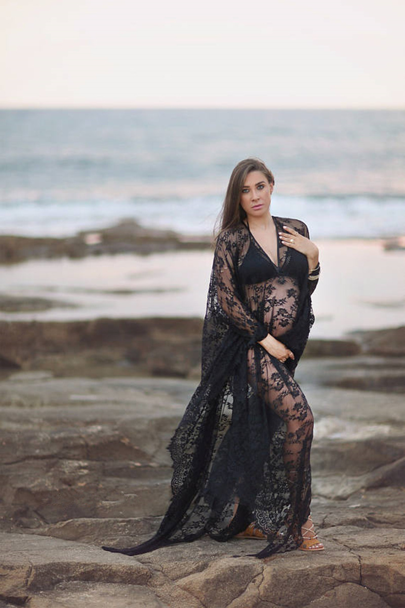 lace beach Maternity Photography Props Pregnant Dress Lace Robe Off Shoulder Ruffles Fancy Maxi Maternity Gown Women Long Dress