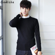 GODLIKE Autumn Winter New Men's long sleeve Pullovers Knitted Sweater Round Neck Slim Hedging Korean Solid Color Thin Sweater