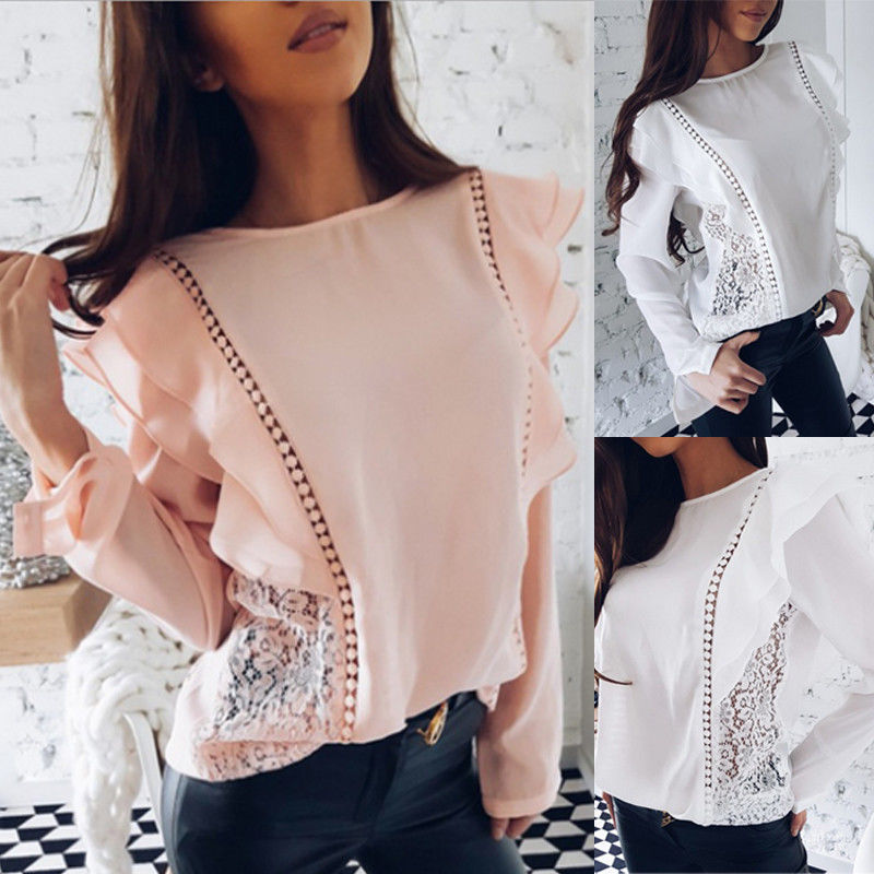 Fashion Ladies Floral Lace Ruffles Long Sleeve Chiffon   Blouse     Shirt   Women Summer Party Jumper Tops Casual Loose   Blouses   Clothes