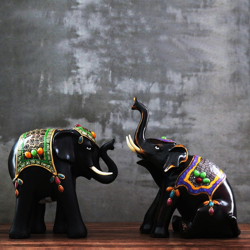 Figurines d'éléphant de Style de l'asie du sud-est inde Figurines en céramique exquises pour la maison accessoires de décoration de maison Statues d'éléphant Cool