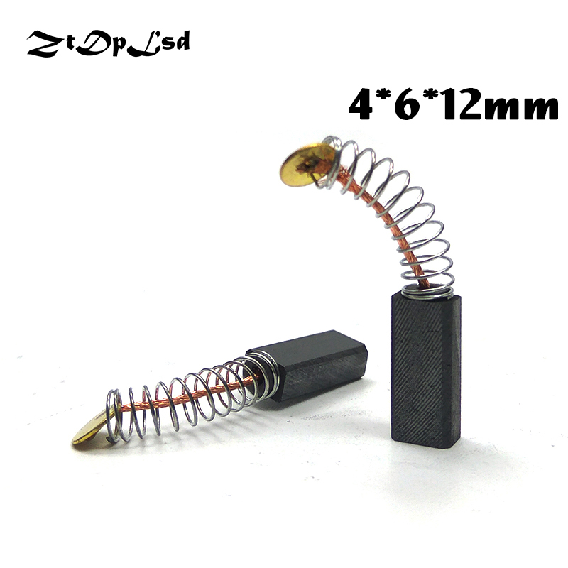 ZtDpLsd 2 Pcs/Pairs 4x6x12mm Mini Drill Electric Grinder Replacement Carbon Brushes Spare Parts For Electric Rotary Tool