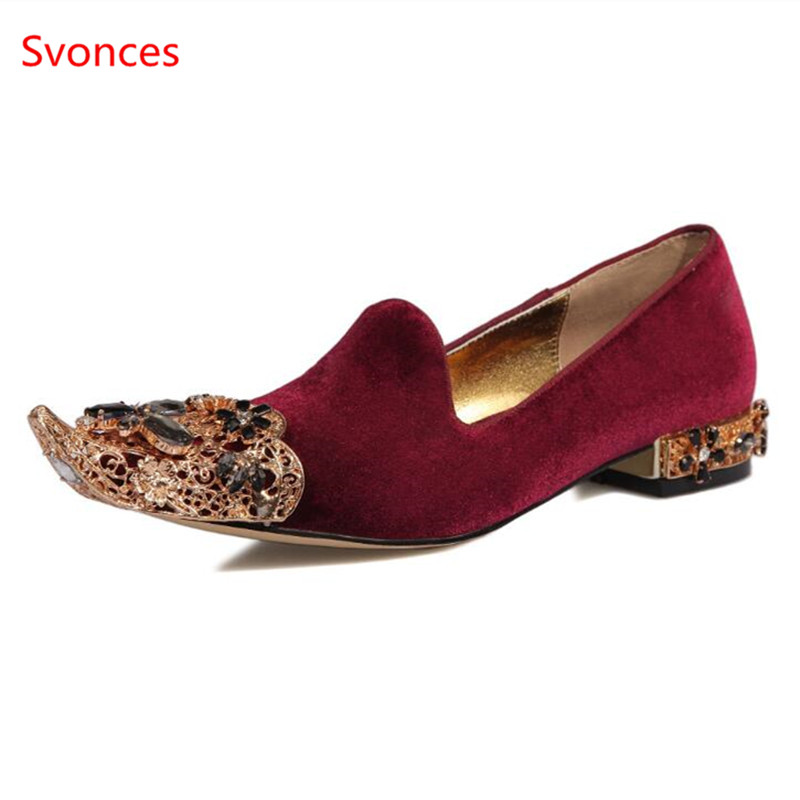 Detail Feedback Questions about New Luxury Brand Shinny Glitter Crystal Shoes  Woman Pointed Toe Women Spring Flats Hollow Metal Flower Heel Casual Women  ... 303509391498
