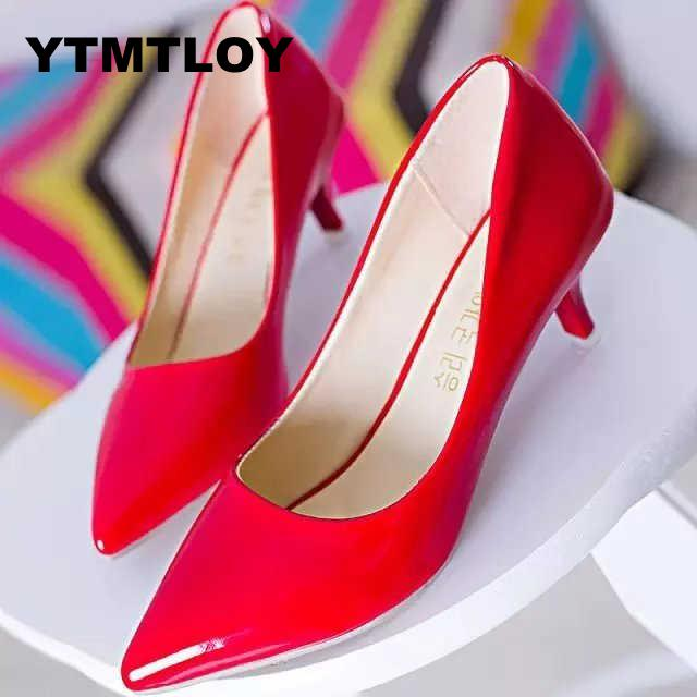 Shoes Women High-Heels Bridal Black Fashion Pu Pink Size-35-39