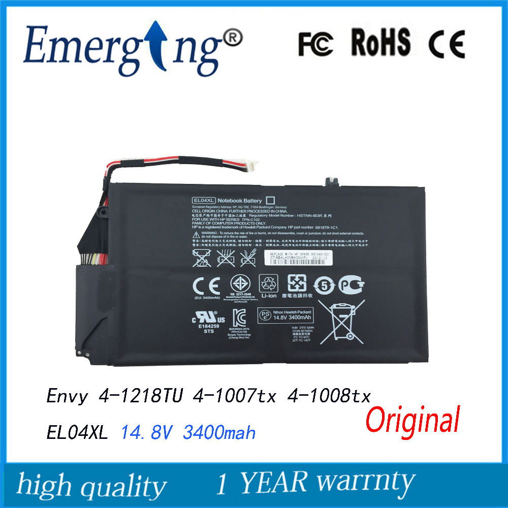 14.8V New  Original  Laptop Battery for HP Envy TouchSmart 4 akku  EL04XL 681879-541 HSTNN-UB3R HSTNN-IB3R new russian for hp envy x2 11 g000 g003tu tpn p104 hstnn ib4c c shell ru laptop keyboard with a bottom shell