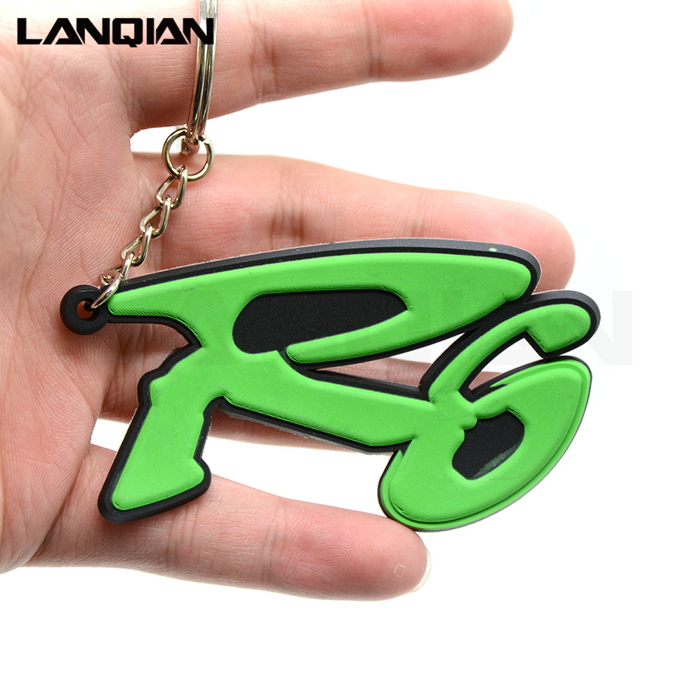 new wholesale motorcycle accessories 3D soft rubber motorcycle key ring 4 colors motorbike keychain for yamaha YZF R6