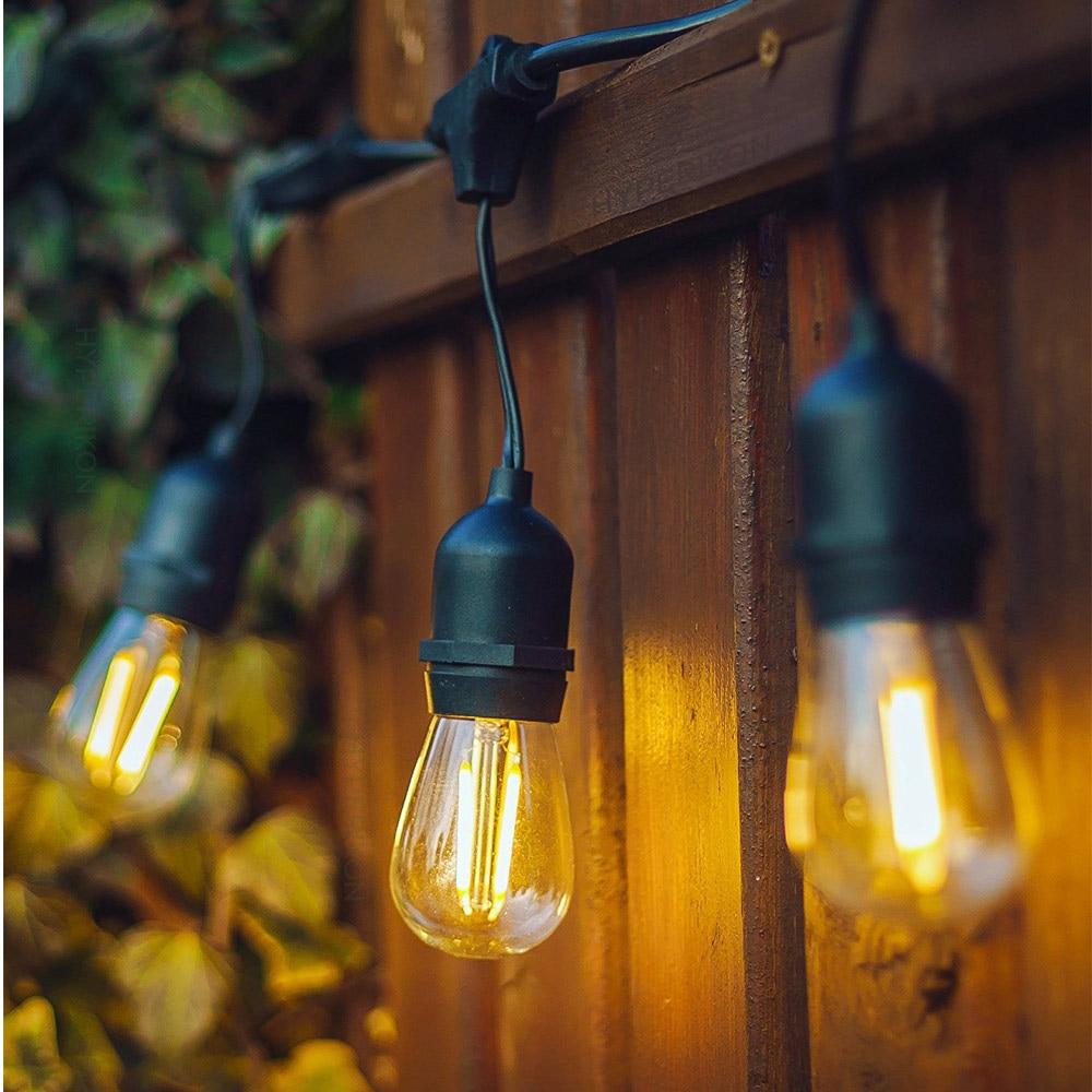 Waterproof 10M 10 LED String Lights Indoor Outdoor Commercial Grade E26 E27 Street Garden Patio Backyard Holiday String Lighting