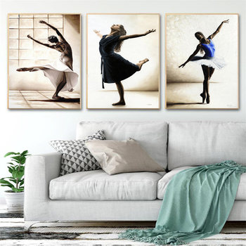 Ballet Dance Girl Picture Home Decor Nordic Canvas Art Painting Wall Art Print Drawing Posters Decor Pating for Girls Bedroom image