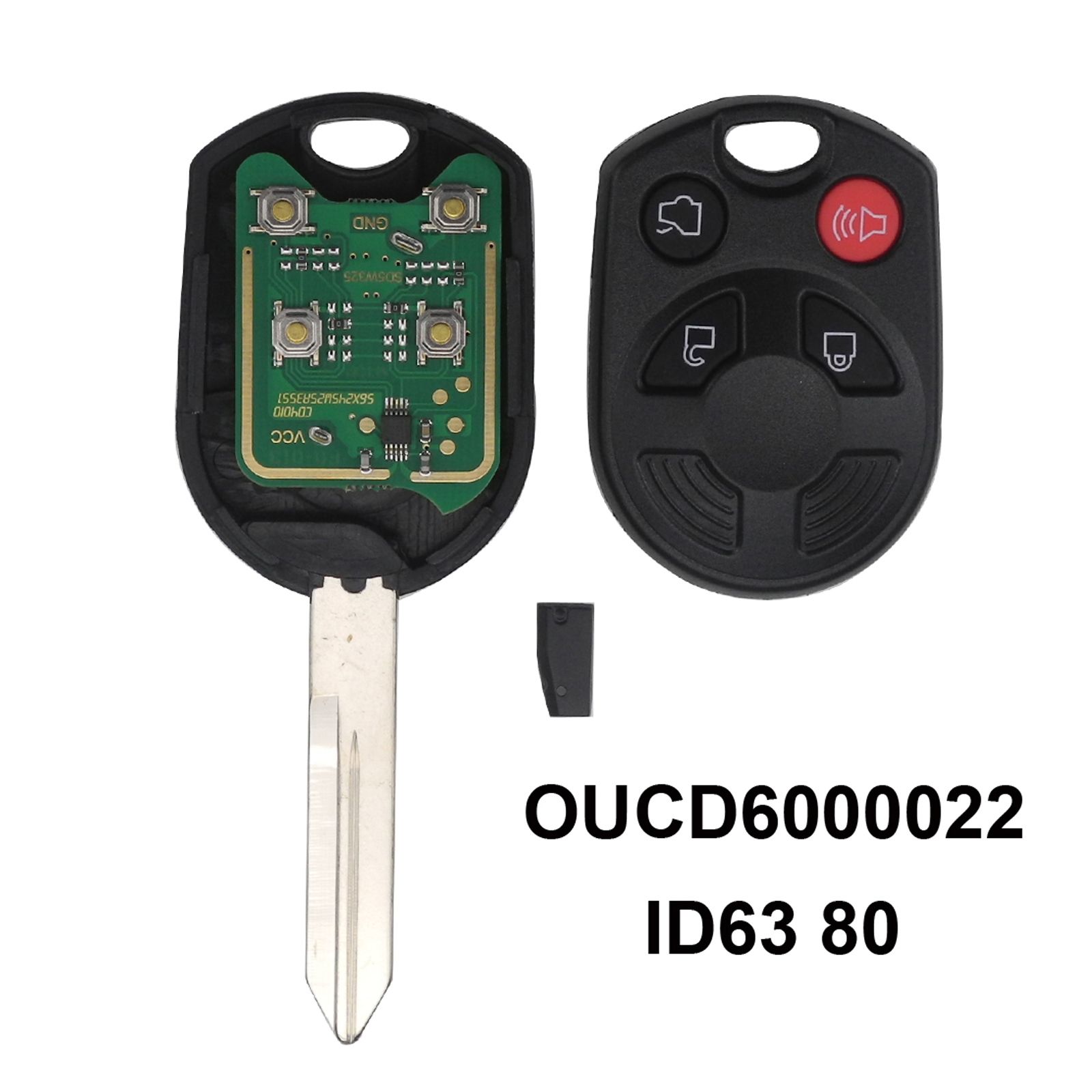 4 Buttons Complete Car Key Remote for Ford Escape Keyless Shell Entry Combo FOB Remote OUCD6000022 With ID63 Chip 80(China)