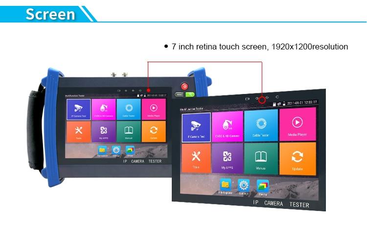 цена на 7 Inch IPC-8600 PLUS H.265 4K IP CCTV Tester Monitor IP CVBS Camera tester Rapid ONVIF WIFI TDR RJ45 HDMI Input POE 12V Output