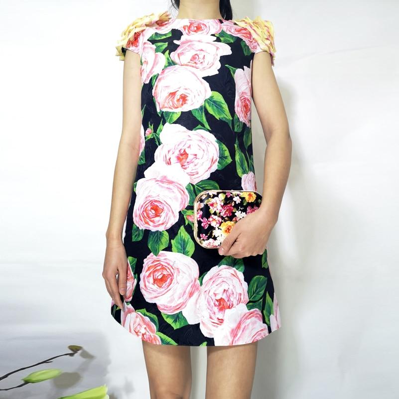 Robe Multi Mode Qualité Nouvelle Impression Rétro Supérieure Droite Pour Fleur D'été Femme Vintage 2019 De Applique cou O RITxYqwFT