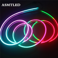 5V WS2812B RGB LED Neon Sign Rope Tape Smart digital Addressable WS2812 IC Multi color LED Light Strips+Pixel Controller+Power