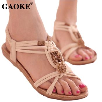 Sandały damskie 2018 letnia kobieta buty japonki kobieta buty na plażę Gladiator koraliki sandały Lady sandały na niskim obcasie obuwie tanie i dobre opinie GAOKE Flock Mieszkanie z NONE Otwarta RUBBER Niska (1 cm-3 cm) 0-3 cm Na co dzień Gumką Pasuje prawda na wymiar weź swój normalny rozmiar