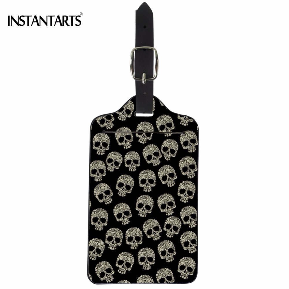 INSTANTARTS Cool Punk Skull Printing PU Leather Luggage Tags Fashion Suitcase ID Address Holder Travel Accessories Boarding Tag ...
