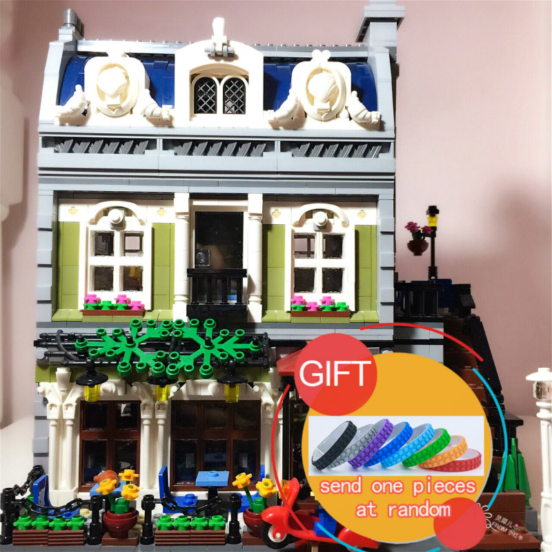15010 2418PCS City Street Parisian Retaurant set Compatible with 10243 Mini Building Blocks toy dhl new 2418pcs lepin 15010 city street parisian restaurant model building blocks bricks intelligence toys compatible with 10243