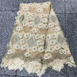 2020 hohe Designer Nigerian Guipure Spitze Applique Französisch Tüll Spitze Stoff Mit Perlen Bestickte Spitze Für Hochzeit NLY38-3
