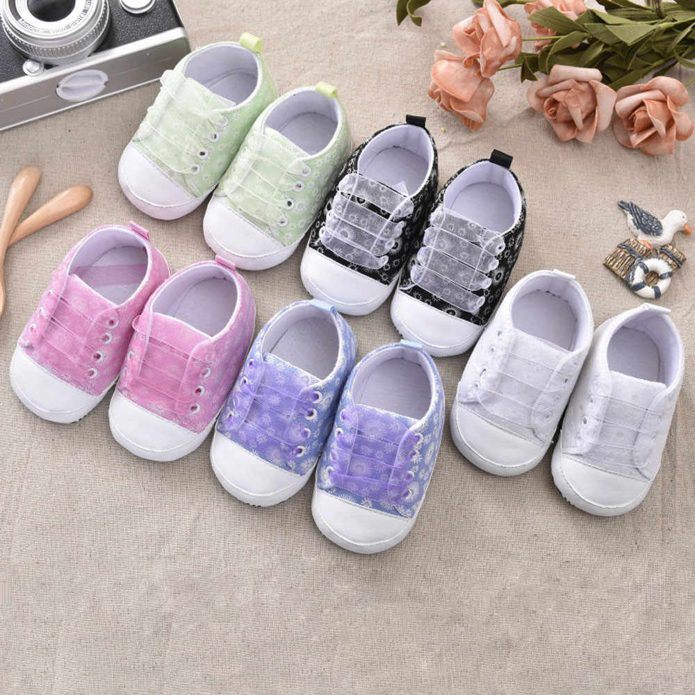 Baby Girl Shoes Fashion Lovely Printing Bandage Canvas Casual Simple Shoes Newborn Comfortable Soft Shoes chaussure bebe fille