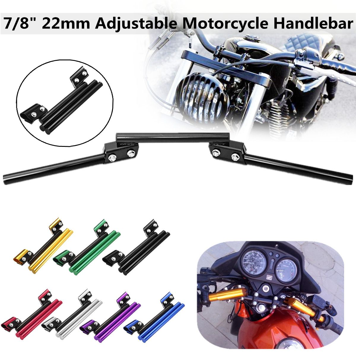 Universal 7/8 / 22mm Motorcycle Handlebars Aluminium Bike Drag Bar Handle Bars for Honda/Suzuki bars брюки 7 8