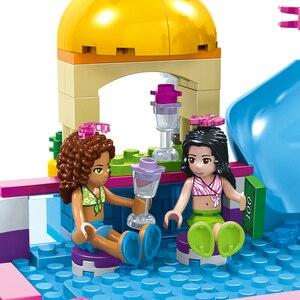 Image 5 - HUIQIBAO 675 шт друзья город плавательный бассейн аквапарк строительные блоки игрушки девушки друг Дом DIY Кирпичи игрушки друг