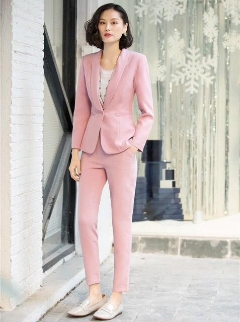 c80e38185af9d 2019 formel élégant femmes mode blanc Blazer femmes d'affaires costumes  avec pantalon et veste