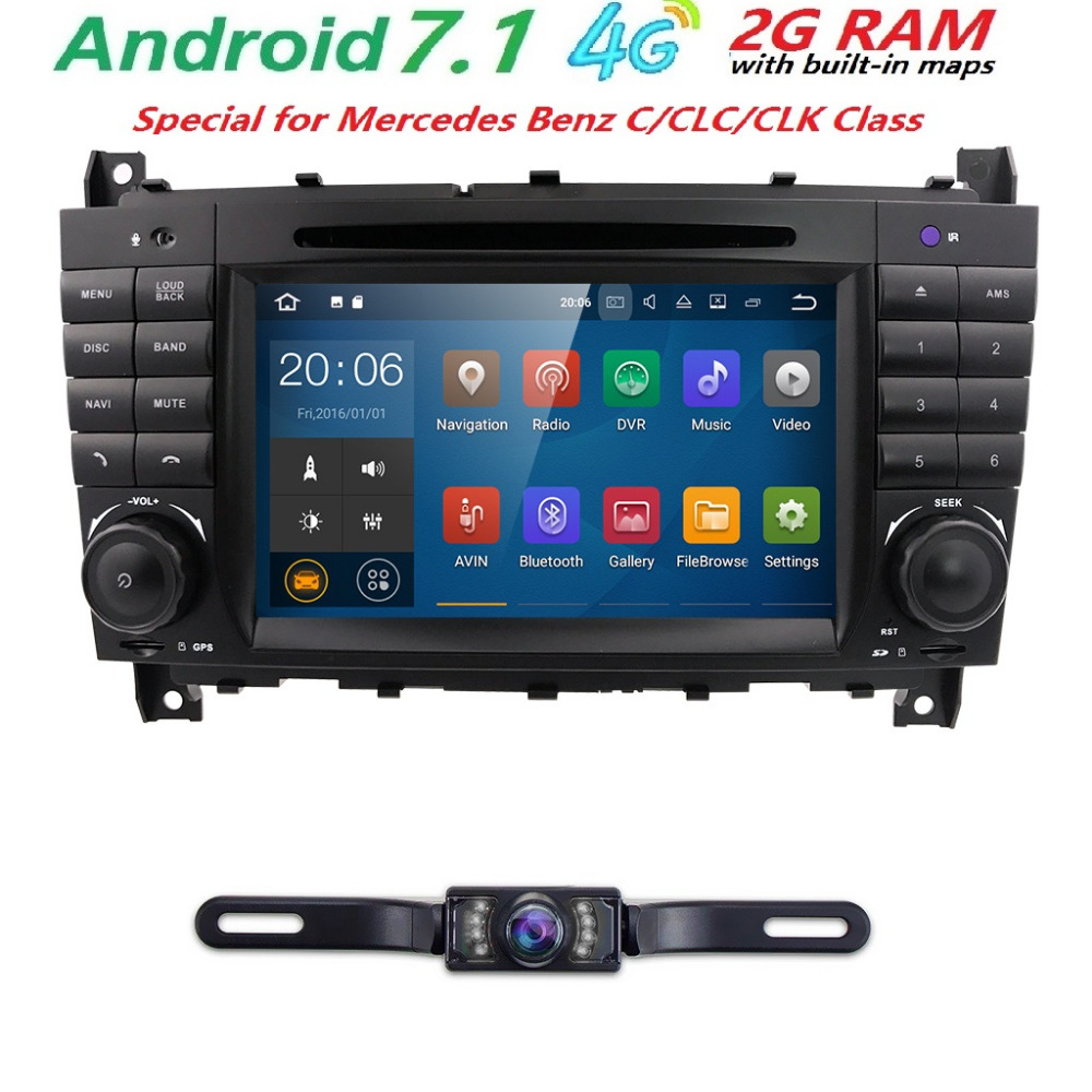 2 din AutoRadio GPS Android 7.1 Car DVD Multimedia Player For Mercedes Benz C-Classs CLC ...