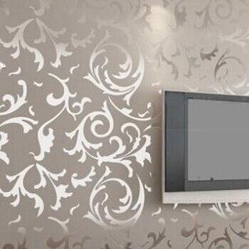 Silver damask wallpaper b q damask wallpaper - Cream flock wallpaper ...