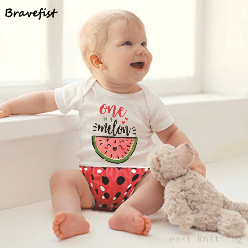 Fashion Baby Bodysuits Watermelon ONE IN A MELON Letters Print Newborn Jumpsuits 0-24Months Short Sleeve Children Summer Clothes