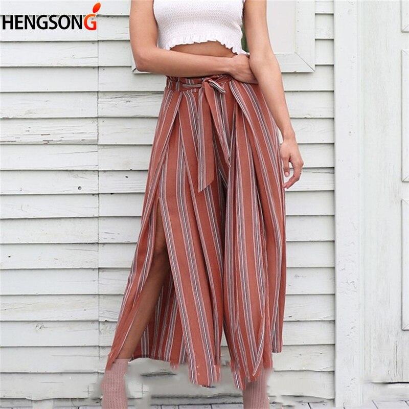 High split stripe   wide     leg     pants   women Summer beach high waist trousers Chic streetwear sash casual   pants   Loose female