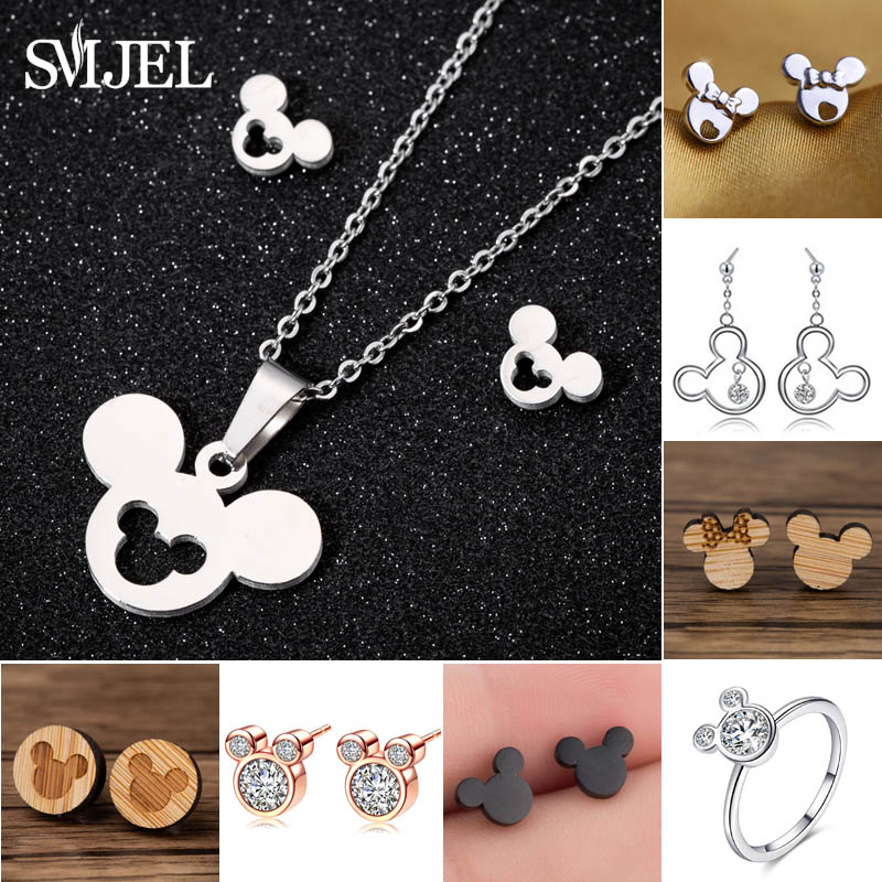 c421dc240ce1 SMJEL Cartoon Mickey Necklace for Women Fashion Children Minnie Necklaces  Simple Mouse Animal Jewelry Kids Gift