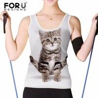 FORUDESIGNS Cute 3D Cat Animal Women Short Sleeved Tank Tops Summer Breath Woman Crop Top Fitness