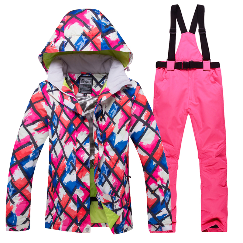 Winter Women Ski Suit New Outdoor Russian -30 degree Snow Windproof Warm Snowboard Ski Jacket+Pants Breathable Sports Wear Hot
