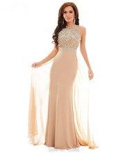 Vestido de festa Real Photo Long Evening Dress Gown Illusion See Through Back Crystal Beaded Jersey Prom Dresses Chiffon train