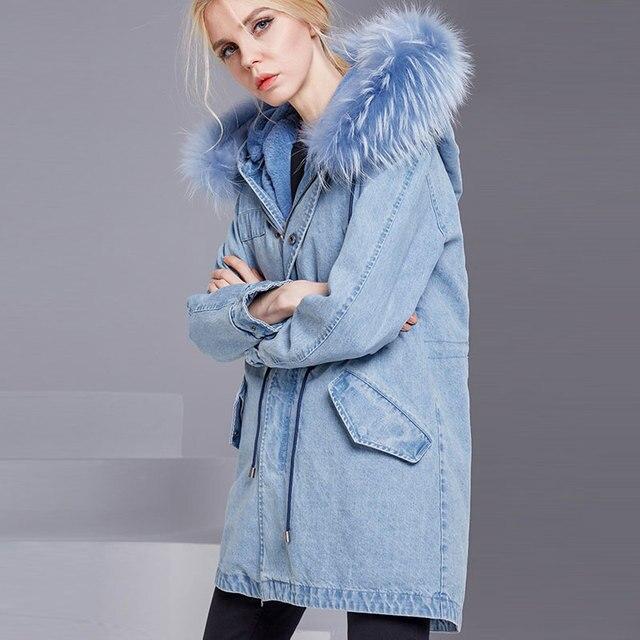 2018 fuchs Pelz Mit Kapuze Frauen Winter Denim Jacke Mantel Baumwolle  Innere Denim Mantel Oberbekleidung Weibliche a5aecc5900