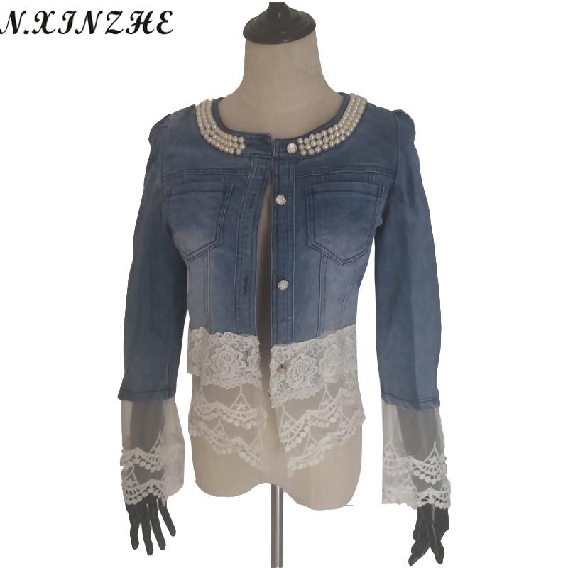 N.XINZHE Elegant floral lace denim <font><b>jacket</b></font> coat women Casual short basic <font><b>jacket</b></font> Beading Patchwork Slim jean <font><b>jackets</b></font> Plus size 3XL