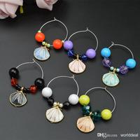 Metable 20pcs/lot Wine Glass Charm Ring Goblet Beads With Scallop Pendant Chain Beach Party Banquet Table Decoration wj042