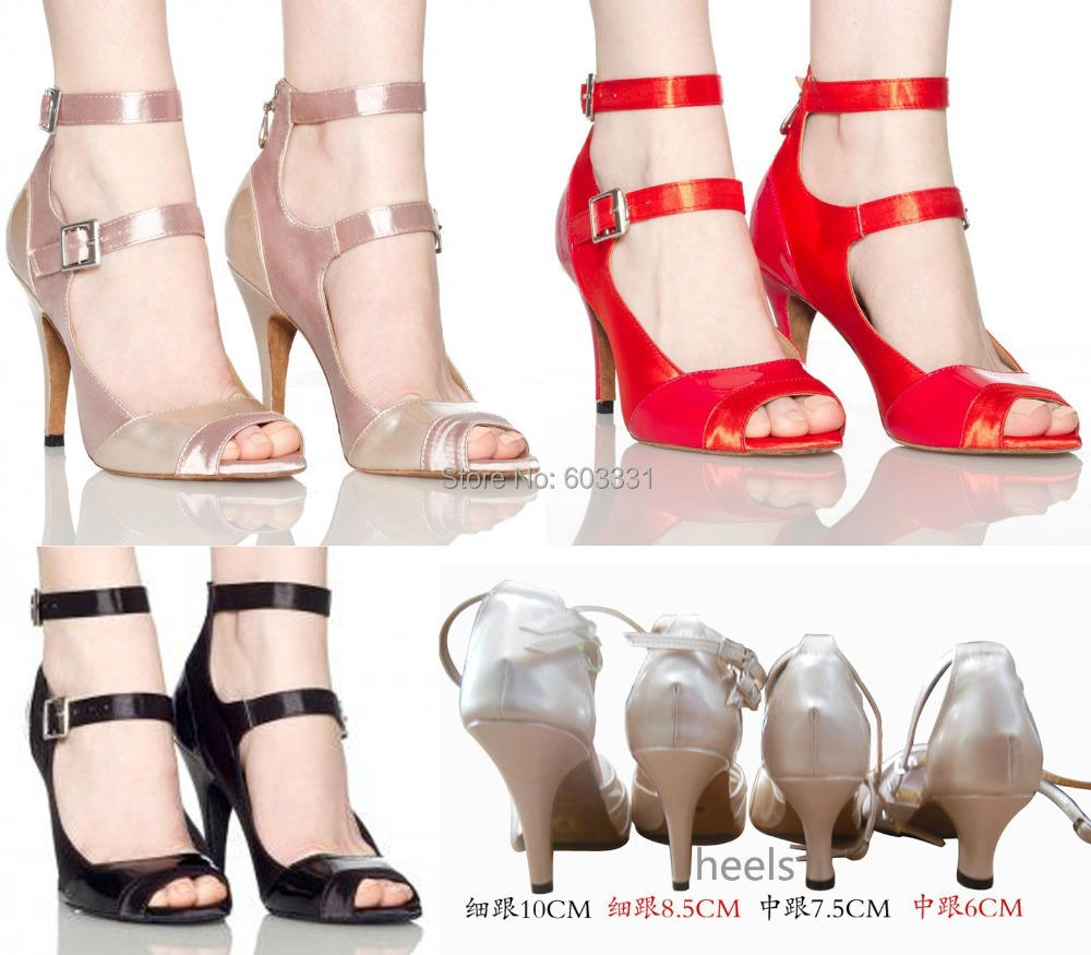 Ladies Party Ballroom Latin Salsa Dance Shoes Women's Rumba Samba Tango Heels US5-9 3Colors 4Heels - dance dress store