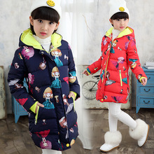 HSSCZL Girls jackets 2019 new winter girl hooded long cute cartoon print coat kids outerwear hooded child Fashion clothes 4-14Y