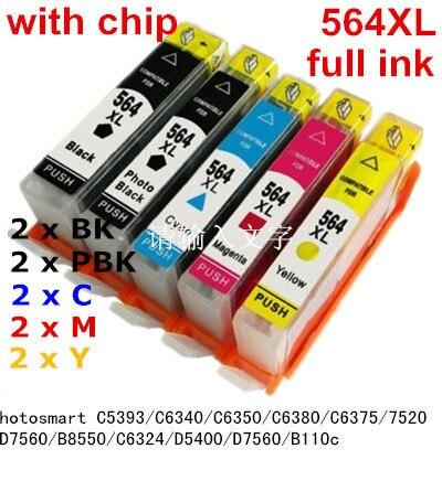 10ink 564 XL Compatible ink cartridge For hp Photosmart C5393 C6340 C6350 C6380 C6375 7520 D7560 B8550 C6324 D5400 D7560 B110c