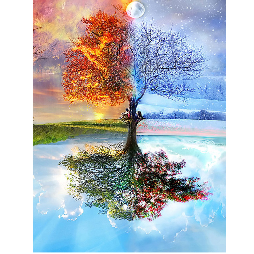 100% Full DIY 5D Diamond Painting Seasons Tree Cross Stitch Diamond Embroidery Patterns rhinestones Diamond Mosaic RS346