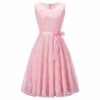 Women S Vintage O Neck Sleeveless Slim Evening Lace Floral Dress Party Pleated Dresses Vestido De