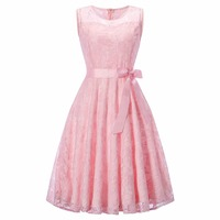 Women's Vintage O Neck Sleeveless Slim Lace Floral Dress Wedding Party Bridesmaid Pleated Dresses Vestido de festa