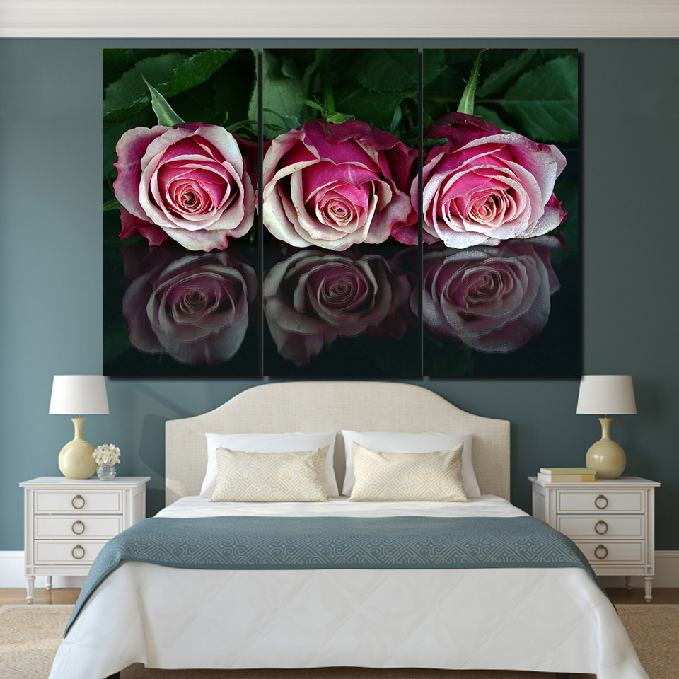 Canvas paintings home wall art prints pink flowers pictures 3 pieces canvas paintings home wall art prints pink flowers pictures 3 pieces roses reflection posters for living room decor framework in painting calligraphy from mightylinksfo