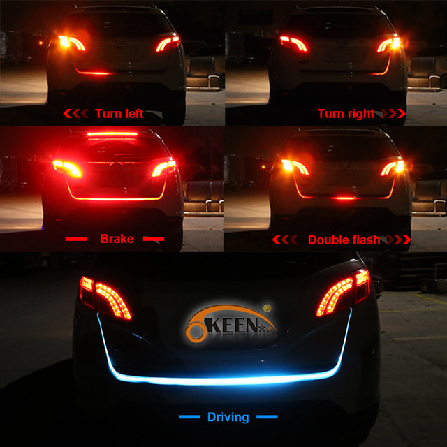 Online shop okeen 1set car led trunk light strip 120cm 5 functions okeen 1set car led trunk light strip 120cm 5 functions led following moving flash warning light turn signal stop signal back aloadofball Gallery